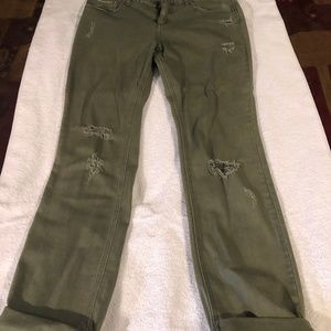 Free People Olive Distressed Jeans - Size 31